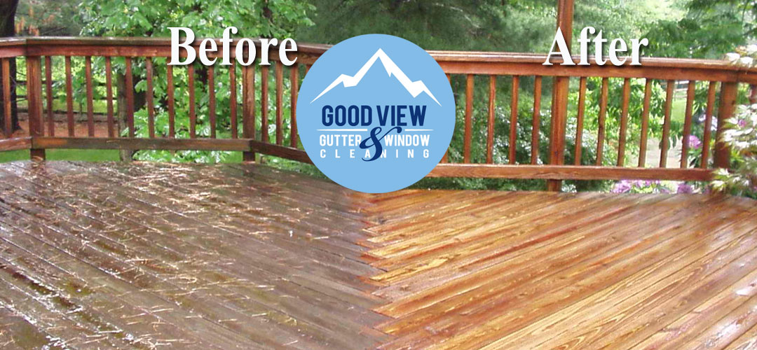 Pressure washing deck clean up before and after