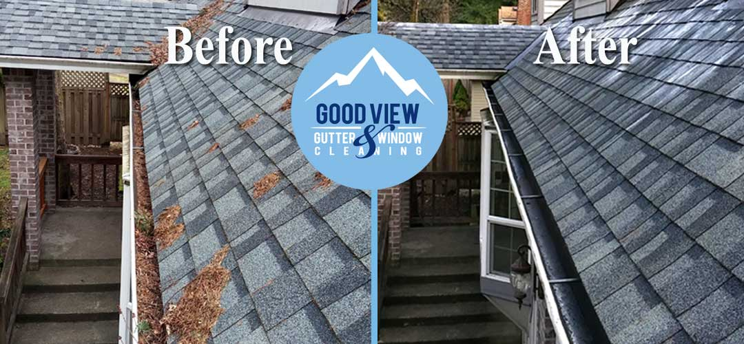 Gutter and roof cleaning before and after